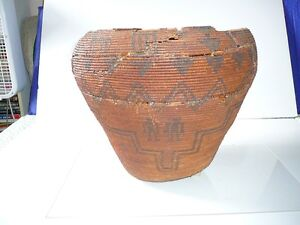 A Panamint ore Apache Polychrome Coiled Pictorial Basketry Bowl