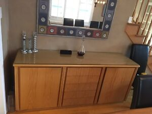 Solid Wood Buffet w/Glass Top & Lined Drawers - $350.00 OBO