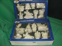2 Packs of assorted Porcelain Tree decorations (white/gold trim)