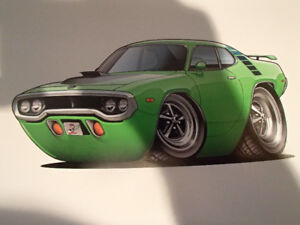 """1971 / 72 PLYMOUTH ROAD RUNNER GREEN WALL ART PICTURE 11"""" X 8.5"""""""
