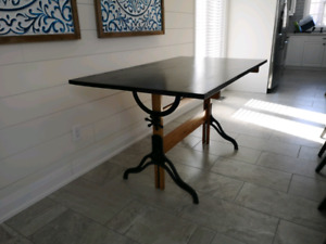 Hamilton Drafting Table Cast And Wood Industrial Desk Dining