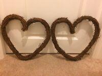 Wedding decoration: big wicker hearts