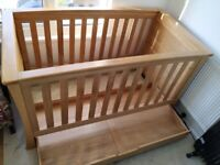 Mama and papas ocean solid oak cot bed with mattress, large wood frame, can be used as toddler bed for sale  Plymouth, Devon