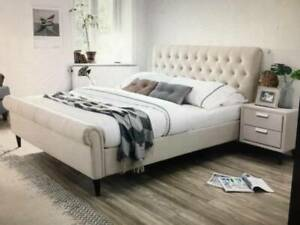 OFFER FREE DELIVERY Lucia K-Single/Double/Queen/King Bed in Crame/Grey