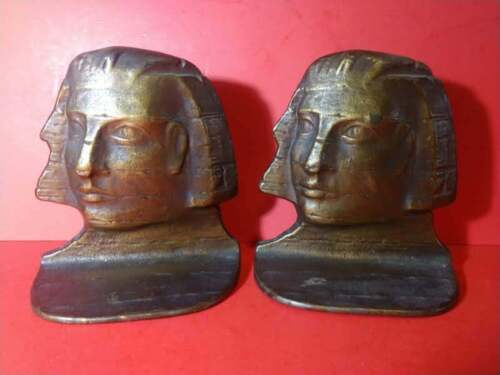 ANTIQUE IRON SPHINX EGYPTIAN REVIVAL BOOKENDS DECORATIVE ARTS DAL Co.