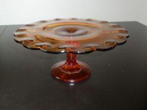 Présentoir sur pied en verre dépression fait par Indiana Glass