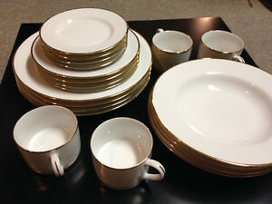 Gold Rimmed Dinnerware Set- 20 pcs, Pier 1