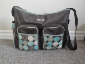 Lightly Used Graco Large Hobo Diaper Bag Montego, Brown/Green