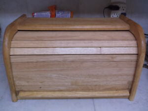 Roll Top Wooden Bread Box. Very Clean