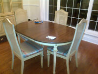 Dining Table, 4 chairs, Hutch and Side Table