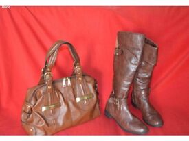 Women boots and hand bag