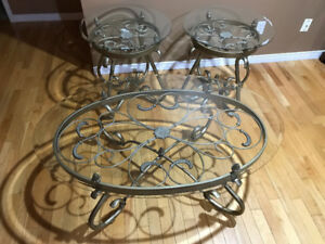 Glass Coffee Table & End Tables