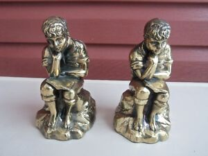 Vintage Metal Bookends of Boy Reading Book & Thinking!
