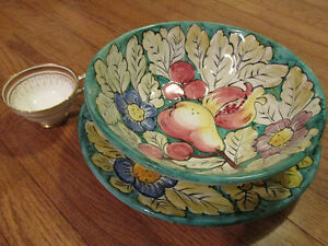 Antique Italian fruit bowl and serving plate set