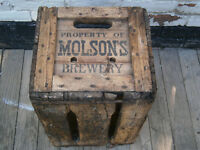 vintage Molson brewery wooden crate