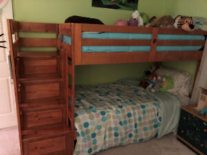 2 Year old Pine Bunk Bed with Mattress's