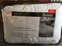 Bedeck double size luxury microfibre duvet, 13.5 tog. Brand new in packaging