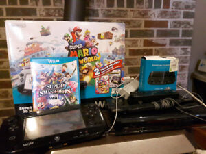 Wii U with Gamepad, Smash Brothers, and Gamecube Adapter