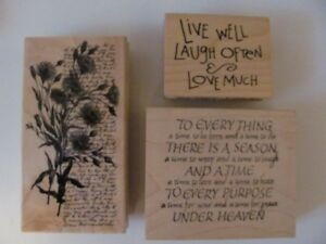 3 Wood Mount Rubber Stamps