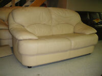 CREAM 100% GENUINE LEATHER COUCH & LOVESEAT