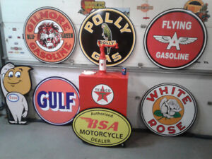 CLASSIC MANCAVE SODA BEER AND GASOLINE SIGNS
