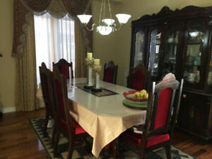 8-Piece Wood Dining Set Cherry Color - Good Condition in Whitby