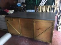 CATERING/STORAGE BOX CUPBOARD WITH STAINLESS STEEL COUNTER TOP