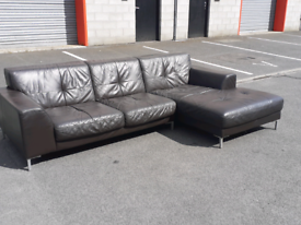 Brown Leather Corner Group Sofa (🤩excellent condition)