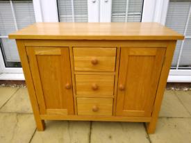 Solid Oak Sideboard Cupboard Drawer 3 Refurbished