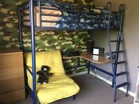 High sleeper bed frame with desk and futon
