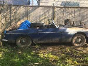 2 MGB Convertibles.  Body and parts. Engine in one