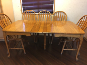 Antique Solid Oak Table with 8 Highback Solid Oak Chairs
