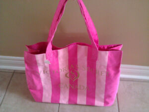 Victoria Secret pink striped reversible beach tote bag purse NWT