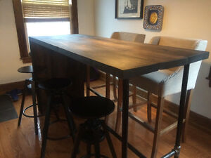 Industrial Solid Wood Bar Dining Table