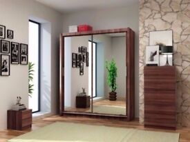 ★★ 203 CM WIDTH ★★ New German Berlin Full Mirror 2 Door Sliding Wardrobe w/ Shelves, Hanging