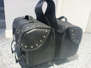 Tek leather black saddle bags