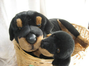 Stuffed Animals, Rottweiler, mother & puppy in a basket