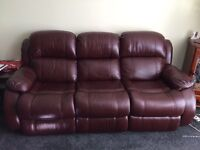 Reclining 3 seater leather sofa and reclining leather chair - burgundy (Penicuik)