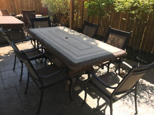 outdoor dining table with 6 chairs