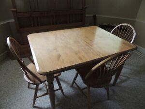 Solid wood dining table with 3 chairs