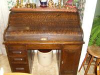$600 - Antique - Roll Top Desk - Solid Oak - Dark Oak Finish