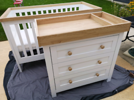 Mothercare Lulworth White Cot bed & Oak 3 Drawer Baby Changing Unit