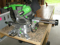 "KAWASAKI 12"" MITRE SAW MOUNTED ON WORKBENCH (see details)"