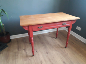 Old pine slatted top table desk console