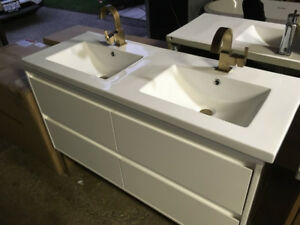 "Alex 48"" Vanity, faucets, countertop - w/ LED lights"
