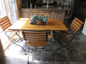 Teak Kitchen or Patio table and 4 chairs