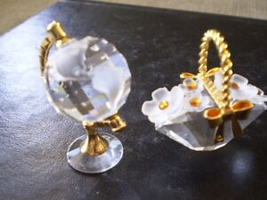 "Swarovski Crystal Figurines -"" World Globe "" & "" Flower Basket """