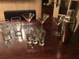 Marquis by Waterford Martini glasses, shaker + glass ware