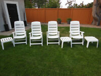 4 Chairs and 3 Tables Lawn, Patio, or Deck Furniture