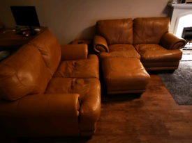 2 x 2 Seater leather Sofa and matching pouffe - Tan Colour